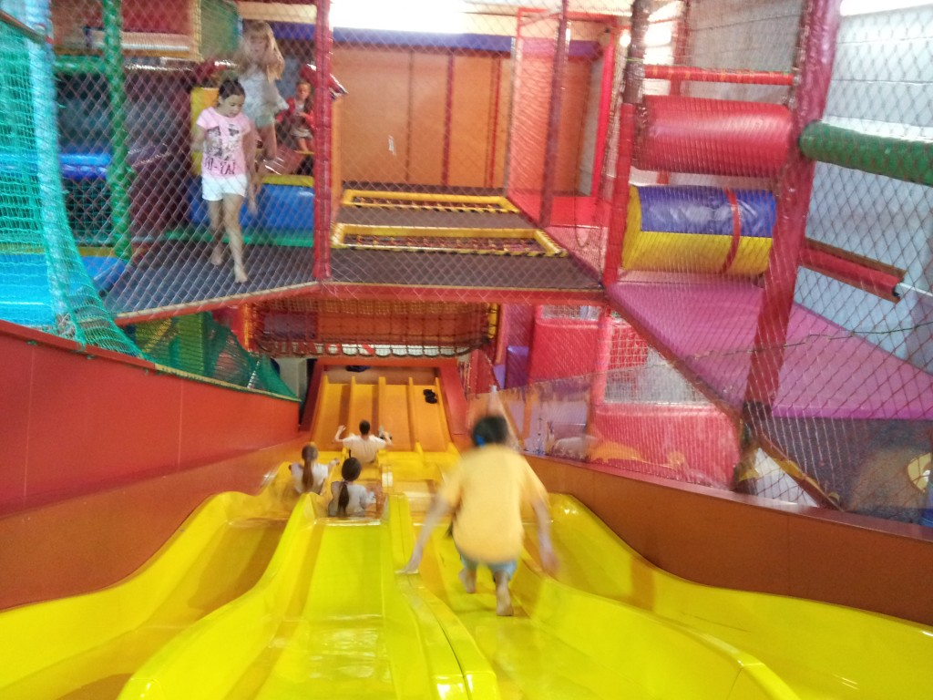 Flying down the slides